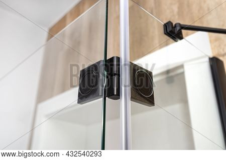 Matte Black Hinge Flush With The Glass, Connecting The Wings Of The Open Cabin, View From The Inside