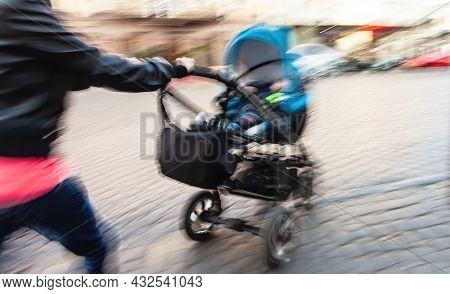 Abstract Image Of People In The Street With A Blurred Background. Intentional Motion Blur. Woman Wit