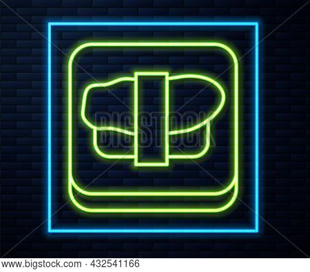 Glowing Neon Line Sushi On Cutting Board Icon Isolated On Brick Wall Background. Asian Food Sushi On