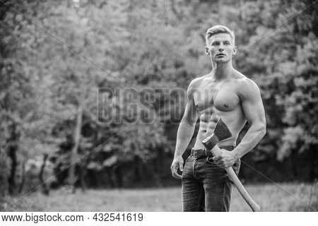 I Am A Criminal. Muscular Man With Axe. Sexy Macho Bare Torso Ax. Brutal And Attractive Male In Wood
