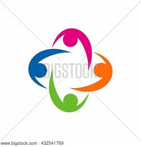 Non Profit Logo, People, Healthy Vector Illustration.