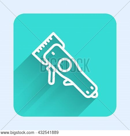 White Line Electrical Hair Clipper Or Shaver Icon Isolated With Long Shadow. Barbershop Symbol. Gree