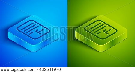 Isometric Line Exam Paper With Incorrect Answers Survey Icon Isolated On Blue And Green Background.