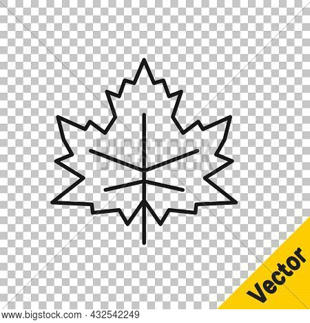 Black Line Leaf Icon Isolated On Transparent Background. Leaves Sign. Fresh Natural Product Symbol.