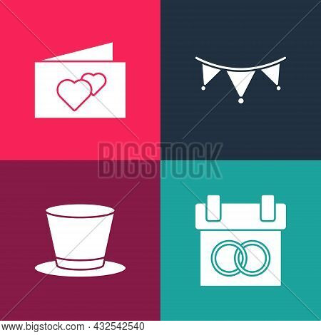 Set Pop Art Calendar, Cylinder Hat, Carnival Garland With Flags And Greeting Card Icon. Vector