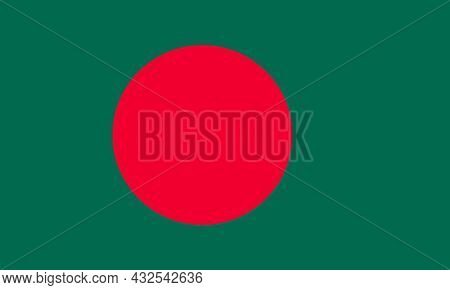 Bangladesh National Flag To The East Of India On The Bay Of Bengal In South Asia