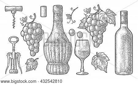 Set For Wine Shop. Vintage Black Engraving Vector Illustration Isolated On White