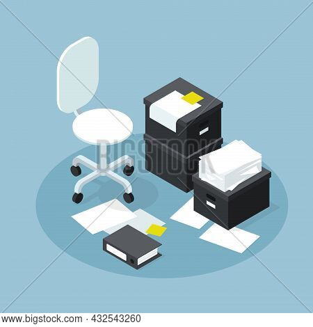 Isometric Office Papers Storage Research Vector Illustration. Empty Workplace Of Data Archive Folder