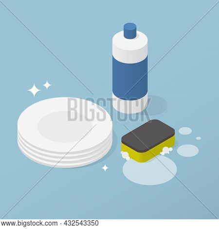 Washing Dishes Detergent Isometric Vector Illustration. Clean Shining Plate With Plastic Bottle Of L