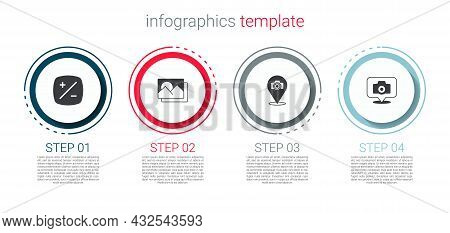 Set Exposure Compensation, Photo Frame, Camera And . Business Infographic Template. Vector