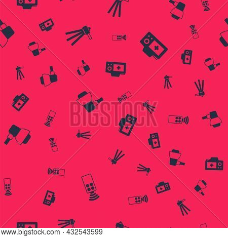 Set Remote Control For Camera, Tripod, Softbox Light And Photo On Seamless Pattern. Vector