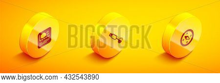 Set Isometric Area Measurement, Measuring Spoon And Compass Icon. Vector