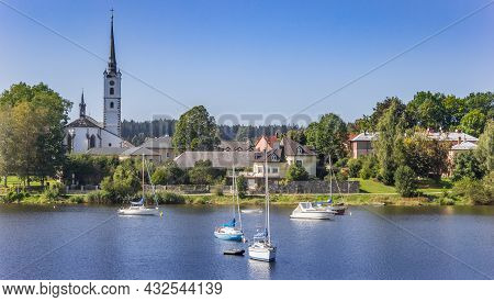Lipno, Czech Republic - September 20, 2020: Lake Lipno With Sailing Boats And The Town Center In Boh