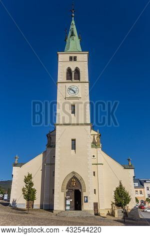 Kasperske Hory, Czech Republic - September 20, 2020: Front View Of The Historic Church In Kasperske