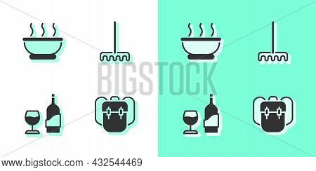 Set School Backpack, Bowl Of Hot Soup, Wine Bottle With Glass And Garden Rake Icon. Vector