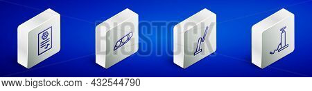 Set Isometric Line Auto Service Check Automotive, Car Headlight, Windscreen Wiper And Air Pump Icon.