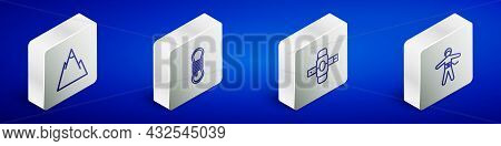 Set Isometric Line Mountains, Climber Rope, Knee Pads And Bungee Jumping Icon. Vector