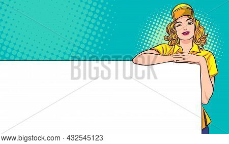 Female Employee Presenting Empty Banner Pop Art Comic Style