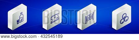 Set Isometric Line Vodka With Pepper And Glass, Cheese, Saloon Door And Wooden Barrels Icon. Vector