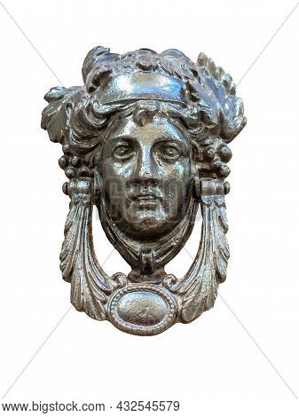 Isolated Door Knocker - Antique Head On The Entrance Of A House On Malta. Italian Traditional Doorkn