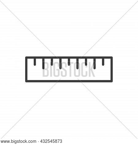 Ruler Flat Line Icon. Measure Outline Instrument. Vector Illustration Isolated