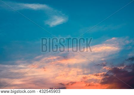 Sunbeams Breaking Through The Clouds With Blue And Orange Sky. Hope, Prayer Concept For Background