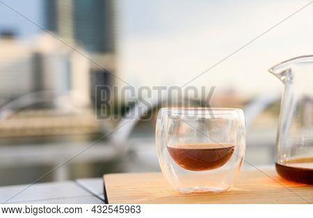 Drip Freshly Brewed Coffee In A Cup And Glass Pot On Wooden Tray. Hot Brew Coffee Drink Is Good For