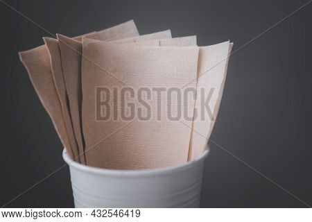 Napkin Brown Tissue Paper. Recycled Paper Good For Environment