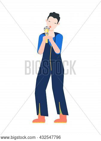 Female Singer Singing With Microphone Flat Vector Illustration