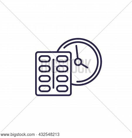 Medication Time Line Icon With A Clock And Pills