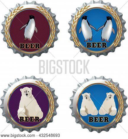 Aluminum Crown Caps With Polar Animals Aluminum Crown Caps With Polar Animals