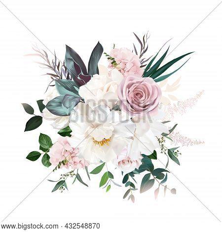 Delicate White Peony, Cream White Magnolia, Pink Rose And Hydrangea, Astilbe Flower