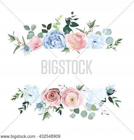 Dusty Blue And Pale Blush Rose, White Hydrangea, Ranunculus, Eucalyptus
