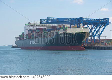 Boston, Usa - Sep. 5, 2018: Evergreen Container Ship Ever Leader Docked At Massport In Boston Seapor