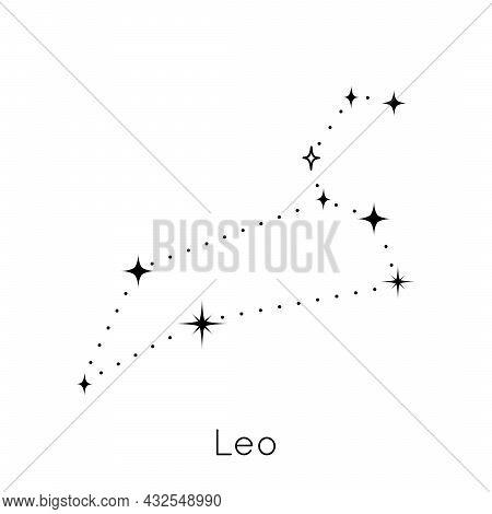 Zodiac Constellation Sign Leo. Celestial Astrological Horoscope Symbol On White Background. Vector I
