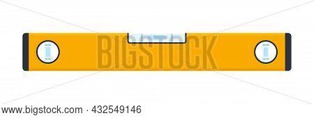 Bubble Level Meter Icon. Construction Or Building Orange Level Tool. Engineering Measure Equipment.