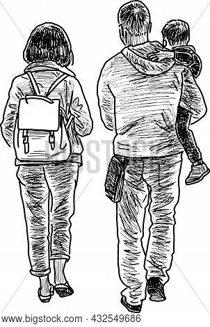 Sketch Of Modern Young Family Walking For A Stroll Outdoors Together