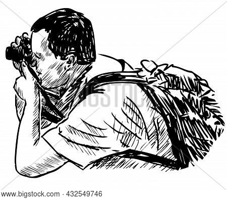 Sketch Of Tourist Man Photographing On His Camera