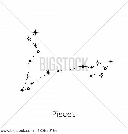Zodiac Constellation Sign Pisces. Celestial Astrological Horoscope Symbol On White Background. Vecto