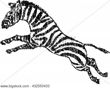 Scribble Drawing Of Jumping Striped African Zebra