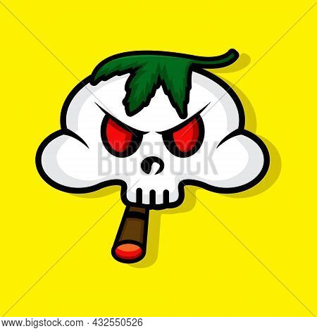 Vector Illustration Of Smoker Skull With A Weed On His Head On Yellow Background. Halloween Party. 3