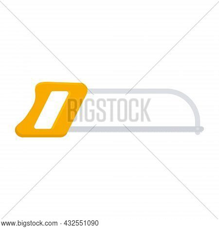 Hack Saw Icon. Hacksaw With Orange Handle. Vector Isolated On White