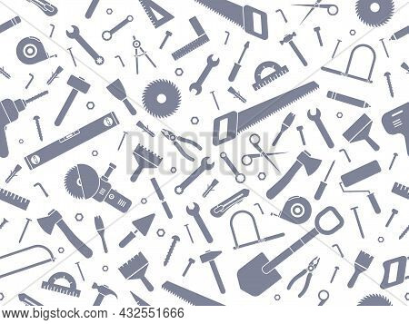 Construction Hardware And Repair Tools Seamless Pattern. Work Instruments Silhouettes Collection. Ve