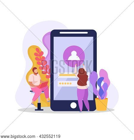 Smartphone Interface Login Form Flat Composition With Human Characters Vector Illustration