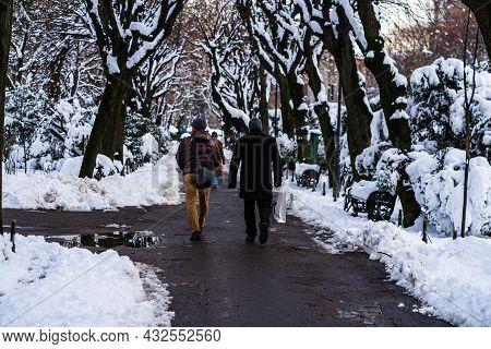 Walking On Snowy Trail In Bucharest, Romania, 2021. Snow On Streets, Snowy Road, Winter Day