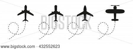 Plane Icon Set. Black Airplanes Flying On Dotted Route Silhouette Collection. Travel Symbol. Vector