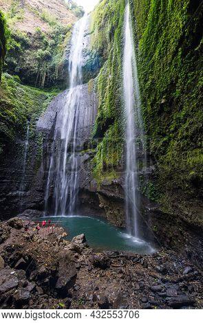 Main Cascade Of Madakaripura Waterfall On Island Java, Indonesia