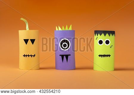 Halloween Diy And Kids Creativity. Eco-friendly Reuse Recycle From Toilet Roll Tube. Children Paper