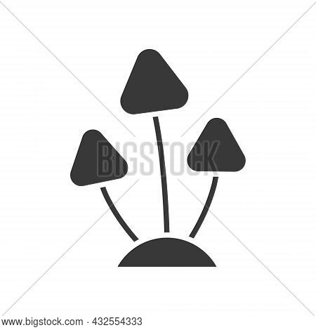 Mushrooms Icon. Halloween Party Horror Element. Mushroom Black Silhouette. Vector Isolated On White