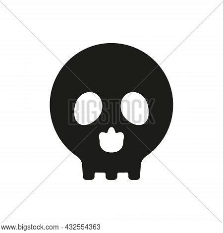 Skull Icon. Danger Sign. Death Head Black Silhouette Symbol. Vector Illustration Isolated On White B